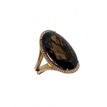 RECARLO anello con quarzo fumè art r98