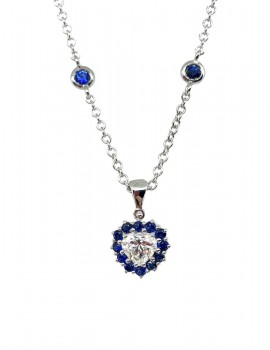 STOPPIANA girocollo diamante cuore e zaffiri art st38